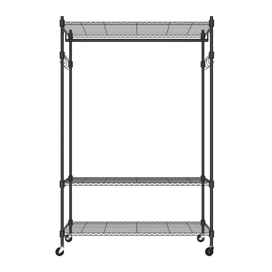 adjustable 3 tier cloth garment rack rolling storage shelf with 4 wheels btl8 ebay. Black Bedroom Furniture Sets. Home Design Ideas