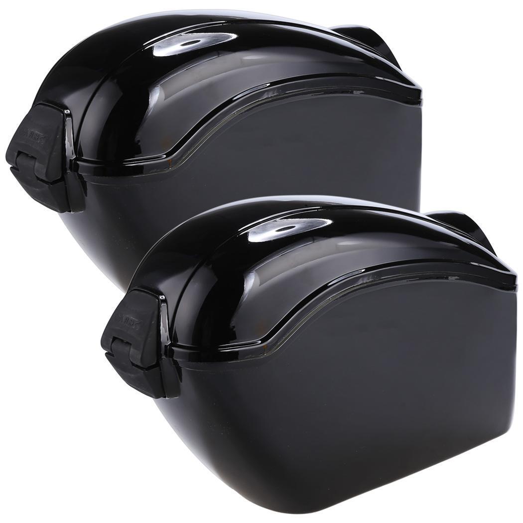 GA Black color Universal Hard Motorcycle Saddlebags Saddle ...