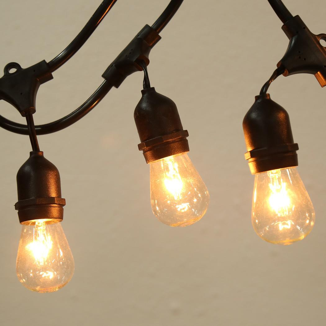 Outdoor Black String Lights - 48 Feet - 15 E26 Dropped Sockets - Bulbs Inculded eBay