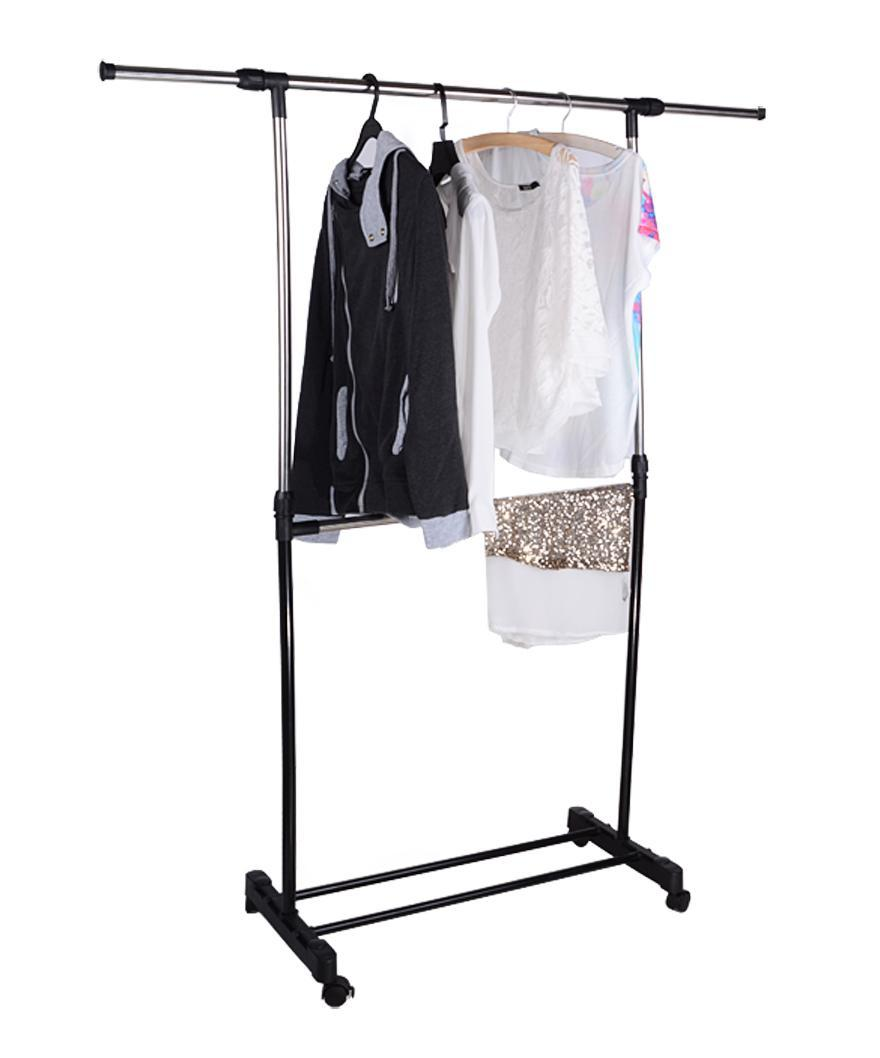 adjustable portable clothes hanger rolling garment rack duty shelf double single. Black Bedroom Furniture Sets. Home Design Ideas